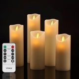 Best Offer Gpl Vinkor Flameless Candles Flickering Flameless Candles Set Decorative Flameless Candles 4 5 6 7 8 Classic Real Wax Pillar With Moving Led Flame 10 Key Remote Control 2 4 6 8 Hours Timer Ship From Usa Intl