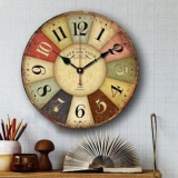 Cheapest Gracefulvara Large Vintage Rustic Wooden Wall Clock Kitchen Antique Shabby Chic Retro Home Intl