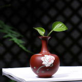 Buy Gu Yuetang Yixing All Hand Painted Purple Bottle Mini Small Vase Ornaments Decorative Tea Pet Flowers Into Small Pots Oem Online