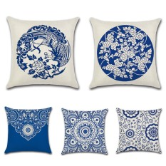 GZ Set of 5 Blue and white porcelain floral China Classic Throw Sofa Pillow Case Cushion Cover Linen Cotton 45cm*45cm - intl