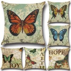 The Cheapest Gz Set Of 6 Butterfly Retro Vintage Throw Sofa Pillow Case Cushion Cover Linen Cotton 45Cm 45Cm Intl Online