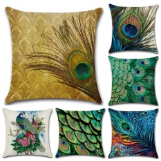 GZ Set of 6 New Animal Peacock Feather Throw Sofa Pillow Case Cushion Cover Linen Cotton 45cm*45cm - intl