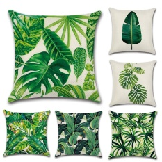 GZ Set of 6 New Living Tropical plants Green Leaves Throw Sofa Pillow Case Cushion Cover Linen Cotton 45cm*45cm New