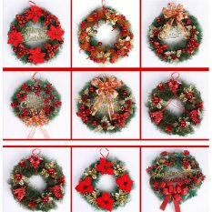 Jettingbuy Hand-crafted Christmas Wreath with Bow Handcrafted Elegant Holiday Wreath for the Front Door Red - intl