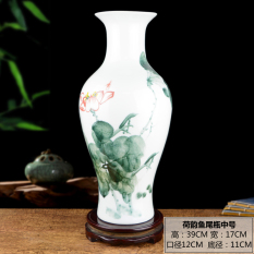Jingdezhen Ceramic Works Hand-Painted Pastel Vase Large Size Chinese Style Living Room Flower Arrangement Art Decorations can zhuo mian Decoration