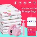 Price Hand Pump 6 Packs Premium Vacuum Storage Bags Works With Any Vacuum Cleaner Free Hand Pump For Travel Double Zip Seal And Triple Seal Storage Organisation For Compression Pack Intl Oem Original