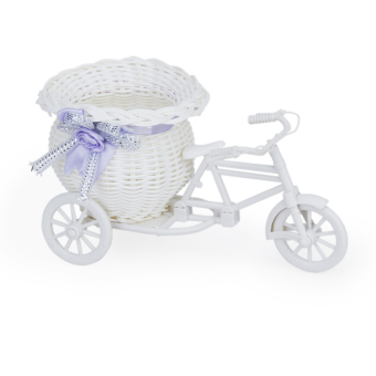 Handmade Rattan Flower Tricycle Bike Basket for Flower Vase Storage Decoration White Purple