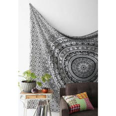 Hanyu Elephant Indian Mandala Tapestry Fringed Wall Hanging Bohemian Bedspread Decor Shawl Beach Towel Black and White