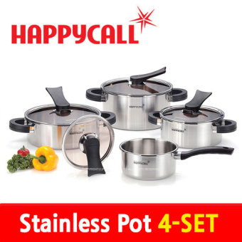 Cheapest Happy Call Stainless Steel Pot 4 Set Happycall Pot Set Made In Korea Clad Production Method Of Triple Structures Korea Food Cookware Fry Pan Wok Kitchen Dining