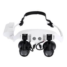 Head Wearing Magnifying Glass 10x 15x 20x 25x Double Eye Jeweler Watch Clock Repair Magnifier Loupe with 2 Light - intl