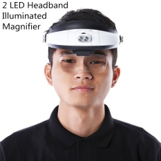 Headband Magnifier with 5 Replaceable Lens Detachable LED Light Illuminated Magnifier 6X Eye Glass Magnifying Loupe Headlamp - intl