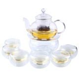 Heat Resistant Clear Glass Tea Pot Set Infuser Teapot Warmer 6 Cup 800Ml Intl Free Shipping