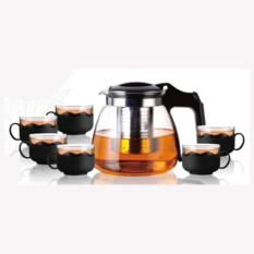 Heat Resistant Glass Teapot Set Tea Pot 900Ml 6 Cups 150Ml Black Cheap