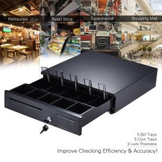 Heavy Duty Electronic Cash Drawer Box Case Storage 5 Bill 5 Coin Trays Check Entry Support Auto Manual Open Key-lock RJ11 for Epson Star POS Printer Money Register - Coin Tray Adjustable Moveable (Black) - intl