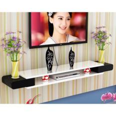 High Gloss Wall Mounted TV Shelves - 110CM (White Top + Black Side)