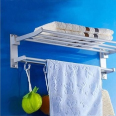 High Qualified Space Aluminum Wall Mounted Foldabel 2 Tier Towel Rack With Hooks Intl Shop