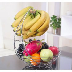 Purchase High Quality Metal Fruit Basket With Banana Holder Hook Kitchen Storage Silver Intl Online