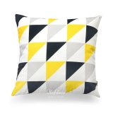 Price Compare Hof Deco Decorative Throw Pillow Cover Yellow Black Gray Triangle Geometric Canvas Cushion Case 45X45 Cm Intl