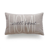 Hof Deco Lumbar Pillow Case Tan Sweet Home His And Her Love Script Heavy Weight Fabric Cushion Cover 30X50 On Line