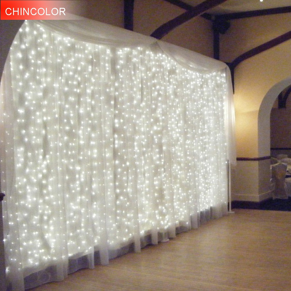 Holiday lights 4.5*3Meter 300leds Icicle Curtain LED Light String 220V EU Plug New Year Christmas Garlands Fairy Party Wedding Decor XR - intl