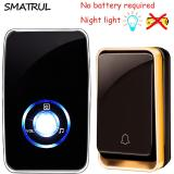 Low Price Home Living Wireless Doorbell No Battery Waterproof Led Night Light Sensor Smart Door Bell Chime Uk Plug Adapter 1 Button 1 Receiver Intl