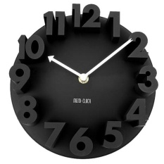 Home Decor Creative Modern Art 3D Number Dome Round Wall Clocks, black 22.5 * 22.5 * 9cm - intl