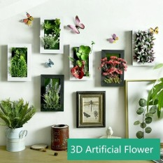 Home Decoration 3D Imitation Frame Shape Wall Hanging Artificial Flowers Plants Fake Succulents For Wall Decoratio-Size 12 - intl
