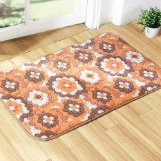 Home Kitchen Bathroom Coral Velvet Non-slip Door Mats Area Rug Carpet 40cm x 60 cm Orange Flowers - intl