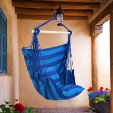 Home Outdoor Cotton Rope Hammock Chair Sofa Porch Swing Blue - intl