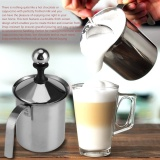 Price Home Stainless Steel Manual Milk Frother Double Mesh Coffee Cappuccino Foamer Creamer 400Ml Intl On China