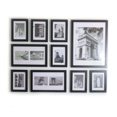 Homeloo Photo Picture Wood Frame Set of 10 (Black) (Export)