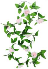 honful Hanging Artificial Vine Silk Rose Flower Decoration, Light Pink