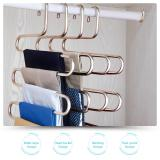 Hontop S Type Multi Purpose Pants Hangers Rack Stainless Steel Magic For Hanging Trousers Jeans Scarf Tie Clothes Space Saving Storage Rack 5 Layers 2 Pcs Intl Free Shipping
