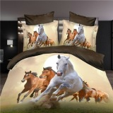 Buying Hot 3D Animal Bedding Set King Queen Twin Size 3 4Pcs Horse Wolf Panda Duvet Cover Bed Sheet Pillow Cases Boys Bed Clothes Queen Size 4