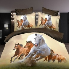 Hot 3D Animal Bedding Set King Queen Twin Size 3 4Pcs Horse Wolf Panda Duvet Cover Bed Sheet Pillow Cases Boys Bed Clothes Queen Size 4 Oem Discount