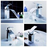 Best Rated Hot Cold Chrome Plated Mixer Water Tap Basin Bathroom Wash Basin Faucet W 2 Hose Silver