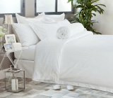 Sale Hotelier Prestigio™ White Sateen Stripe Fitted Sheet Set Hotelier Prestigio™