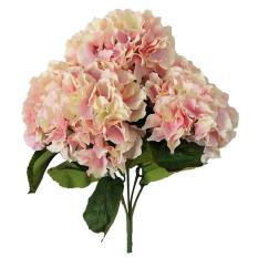 huaxian Artificial Hydrangea Flower 5 Big Heads Bounquet Home Party Wedding Decor(Pink)