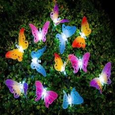 iBelieve 12 Led Solar Powered Butterfly Fiber Optic Fairy String Outdoor Garden Lights - intl