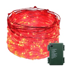 Retail Indoor And Outdoor Waterproof Battery Operated 300 Led String Lights On 30M Long Ultra Thin Silver String Wire With 8 Lighting Modes Intl