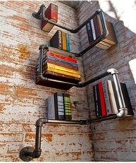 Industrial Urban Style Galvanised Steel Pipe Shelf Storage Shelving Book - intl