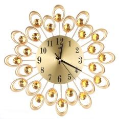 Uebfashion Inlaid Diamond Flower Living Room Bedroom Metal Wall Clock(Gold) - intl