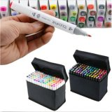 Lowest Price Interior Decorator 80 Colors Dual Tips Art Sketch Twin Marker Pens Highlighters With Carrying Case For Painting Coloring Highlighting And Underlining Intl