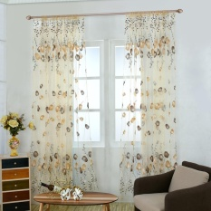 iooilyu Chiffon Tulip Curtain Sheer Drape Panel Scarf Voile Door Window Decor (Green) - intl