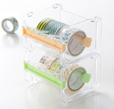 iooiopo Transparent Desktop Washi Tape Dispenser Tape Cutter Roll Tape Organizer Tape Holder,1pcs - intl