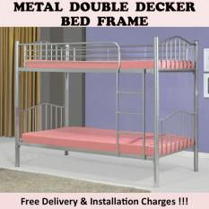IRINA Double Decker Bed (Silver) with 2 Plywoods