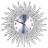 Price Iron Art Inlaid Diamond Flower Living Room Bedroom Metal Wall Clock Black Intl Vakind Online