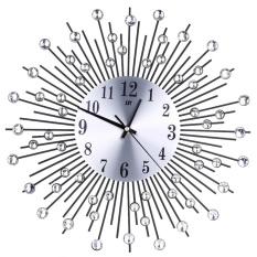 Wholesale Iron Art Inlaid Diamond Flower Living Room Bedroom Metal Wall Clock Black Intl