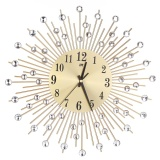 Buy Iron Art Inlaid Diamond Flower Living Room Bedroom Metal Wall Clock Gold Intl China