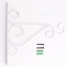 Iron Garden Wall Light Hanging Flower Plant Pot Bracket Hook Shelf Stand Holder White - Intl